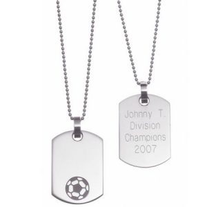 Personalized Stainless Steel Sports Dog Tag, Soccer
