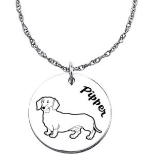 Personalized Sterling Silver Engraved Name and Dog Breed Pendant
