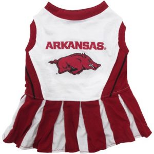 Pets First College Arkansas Razorbacks Cheerleader, 3 Sizes Pet Dress Available. Licensed Dog Outfit