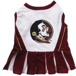Pets First College Florida State Seminoles Cheerleader, 3 Sizes Pet Dress Available. Licensed Dog Outfit