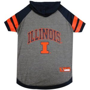 Pets First College Illinois Fighting Illini Pet Hoody Tee Shirt, 4 Sizes Available