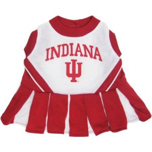Pets First College Indiana Hoosiers Cheerleader, 3 Sizes Pet Dress Available. Licensed Dog Outfit