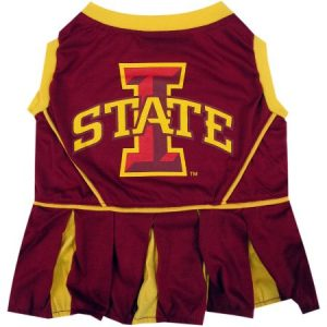 Pets First College Iowa State Cyclones Cheerleader, 3 Sizes Pet Dress Available. Licensed Dog Outfit