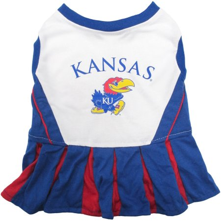 Pets First College Kansas Jayhawks Cheerleader, 3 Sizes Pet Dress Available. Licensed Dog Outfit