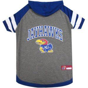 Pets First College Kansas Jayhawks Pet Hoody Tee Shirt, 4 Sizes Available