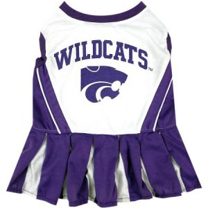 Pets First College Kansas State Wildcats Cheerleader, 3 Sizes Pet Dress Available. Licensed Dog Outfit