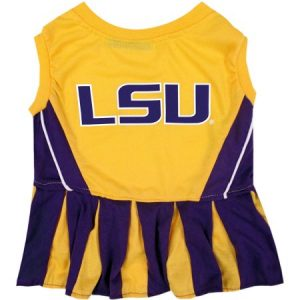 Pets First College LSU Tigers Cheerleader, 3 Sizes Pet Dress Available. Licensed Dog Outfit