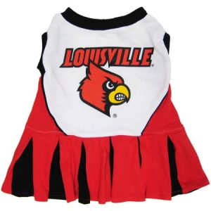 Pets First College Louisville Cardinals Cheerleader, 3 Sizes Pet Dress Available. Licensed Dog Outfit