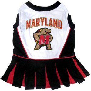Pets First College Maryland Terrapins Cheerleader, 3 Sizes Pet Dress Available. Licensed Dog Outfit