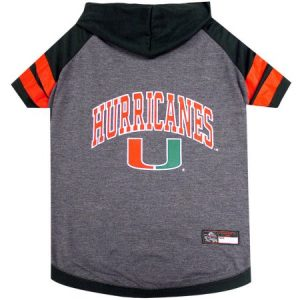 Pets First College Miami Hurricanes Pet Hoody Tee Shirt, 4 Sizes Available