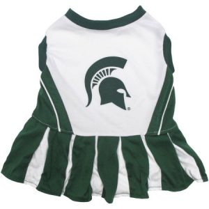Pets First College Michigan State Spartans Cheerleader, 3 Sizes Pet Dress Available. Licensed Dog Outfit