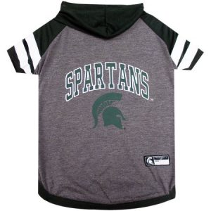 Pets First College Michigan State Spartans Pet Hoody Tee Shirt, 4 Sizes Available