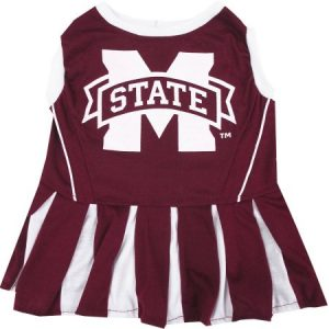 Pets First College Mississippi State Bulldogs Cheerleader, 3 Sizes Pet Dress Available. Licensed Dog Outfit