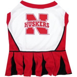 Pets First College Nebraska Huskers Cheerleader, 3 Sizes Pet Dress Available. Licensed Dog Outfit