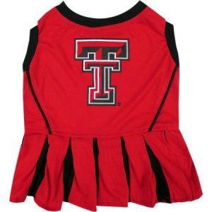 Pets First College Texas Tech Raiders Cheerleader Licensed Pet Dress Dog Outfit, 3 Sizes Available