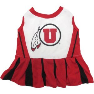 Pets First College Utah Utes Cheerleader, 3 Sizes Pet Dress Available. Licensed Dog Outfit