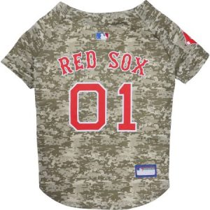 Pets First MLB Boston Red Sox Camouflage Jersey For Dogs, 5 Sizes Available, Pet Shirt For Hunting, Hosting a Party, or Showing off your Sports Team