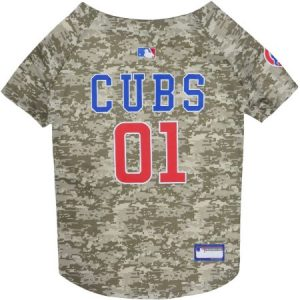 Pets First MLB Chicago Cubs Camouflage Jersey For Dogs, 5 Sizes Available, Pet Shirt For Hunting, Hosting a Party, or Showing off your Sports Team