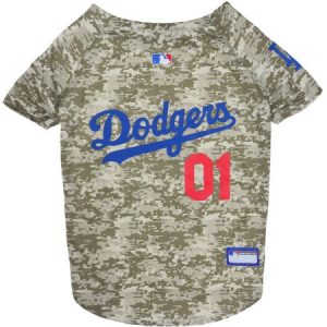 Pets First MLB Los Angeles Dodgers Camouflage Jersey For Dogs, 5 Sizes Available, Pet Shirt For Hunting, Hosting a Party, or Showing off your Sports Team