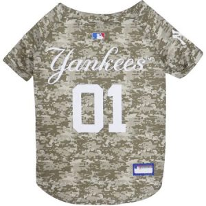 Pets First MLB New York Yankees Camouflage Jersey For Dogs, 5 Sizes Available, Pet Shirt For Hunting, Hosting a Party, or Showing off your Sports Team