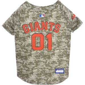 Pets First MLB San Francisco Giants Camouflage Jersey For Dogs, 5 Sizes Available, Pet Shirt For Hunting, Hosting a Party, or Showing off your Sports Team