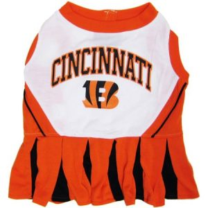 Pets First NFL Cincinnati Bengals Cheerleader, 3 Sizes Pet Dress Available. Licensed Dog Outfit