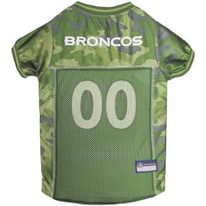 Pets First NFL Denver Broncos Camouflage Jersey For Dogs, 5 Sizes Available, Pet Shirt For Hunting, Hosting a Party, or Showing off your Sports Team