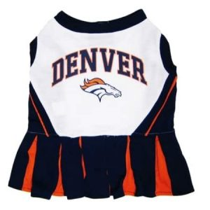 Pets First NFL Denver Broncos Cheerleader, 3 Sizes Pet Dress Available. Licensed Dog Outfit