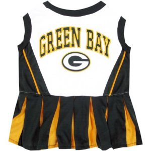 Pets First NFL Green Bay Packer Cheerleader, 3 Sizes Pet Dress Available. Licensed Dog Outfit