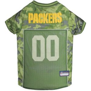 Pets First NFL Green Bay Packers Camouflage Jersey For Dogs. - 5 Sizes Available. - Pet Shirt For Hunting, Hosting a Party, or Showing off your Sports Team!