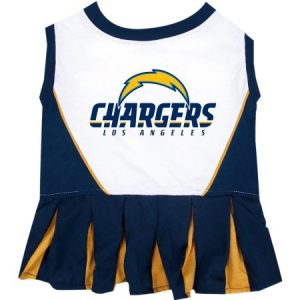 Pets First NFL Los Angeles Chargers Cheerleader Licensed Pet Dress Dog Outfit, 3 Sizes Available