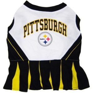 Pets First NFL Pittsburgh Steelers Cheerleader, 3 Sizes Pet Dress Available. Licensed Dog Outfit