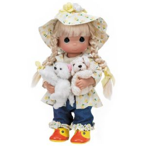 Precious Moments Dolls by The Doll Maker, Linda Rick, Raining Cats and Dogs, 12 inch doll