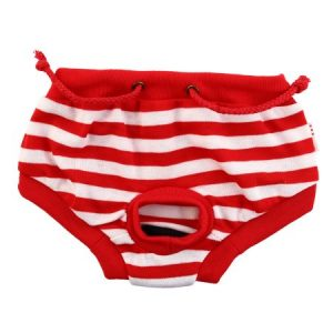 Red Stripped Dog Pet Apparel physiological Menstrual Sanitary Diaper Pant Size L