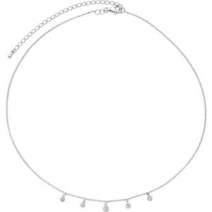 """STERLING SILVER DIA ACCENT 0.014 CTTW MIRACLE PLATE DANGLE CHOKER 14"""" NECKLACE WITH 3"""" EXTENDER"""