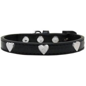 Silver Heart Widget Dog Collar Black Size 12