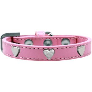 Silver Heart Widget Dog Collar Light Pink Size 14