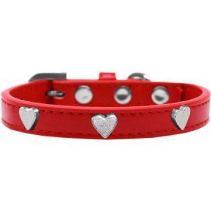 Silver Heart Widget Dog Collar Red Size 20