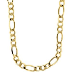 Simply Gold Men's 10kt Yellow Gold 7.55mm Figaro Chain, 22""