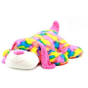 "Spark 39"" Stuffed Plush Fluffy Floppy Animal, Rainbow Puppy"