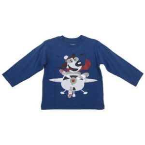 Sprockets Little Boys Blue Flying Dog Airplane Print Long Sleeved T-Shirt 4-7