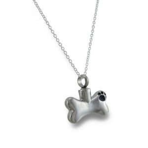 Stainless Steel Dog Bone Keepsake Vial Pendant W/ Necklace