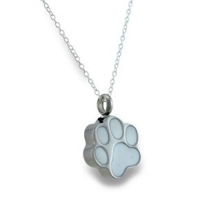 Stainless Steel Dog Paw Print Keepsake Vial Pendant W/ Necklace