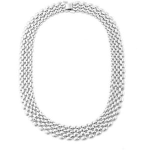 Tazza Shiny Light Silver-Tone Glam Linked Collar Necklace