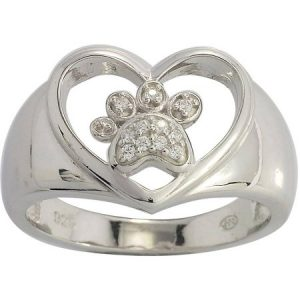 The Humane Society of the U.S. Sterling Silver and CZ Dog Paw Heart Ring