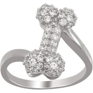 The Humane Society of the U.S. Sterling Silver and Pave CZ Dog Bone Ring