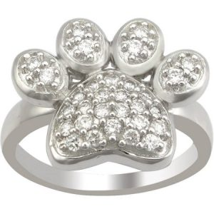 The Humane Society of the U.S. Sterling Silver and Pave CZ Dog Paw Ring