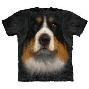 The Mountain Adult Black 100% Cotton Bernese Mountain Dog T-Shirt