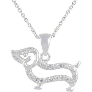 Truly Radiant CZ Sterling Silver Dog Pendant Necklace with Gift Box