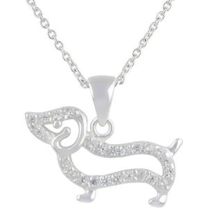 Truly Radiant Pave CZ Stone Sterling Silver Dog Pendant Necklace, 18""